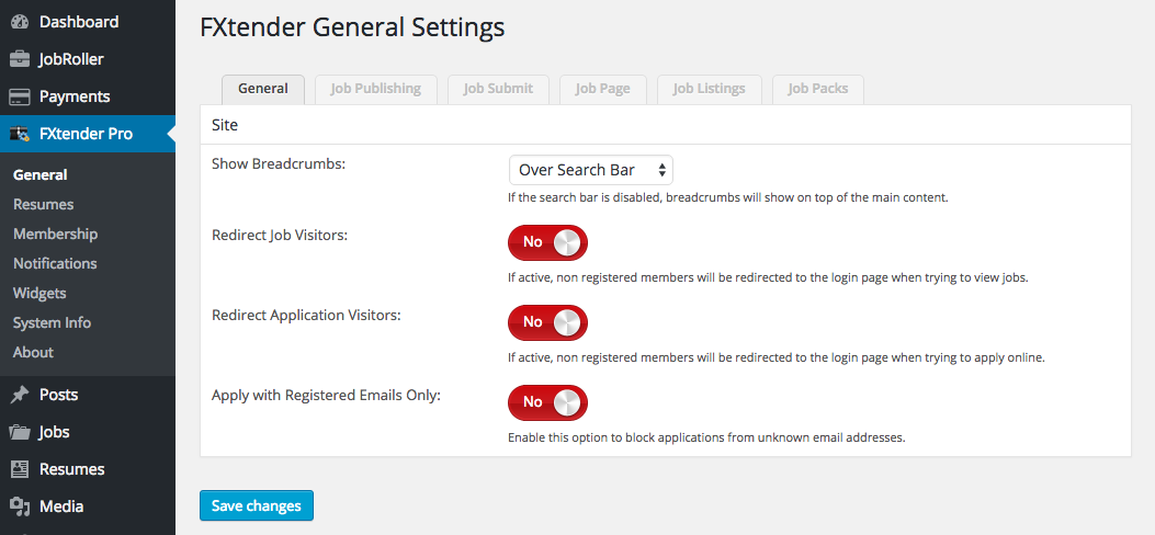 Main settings page