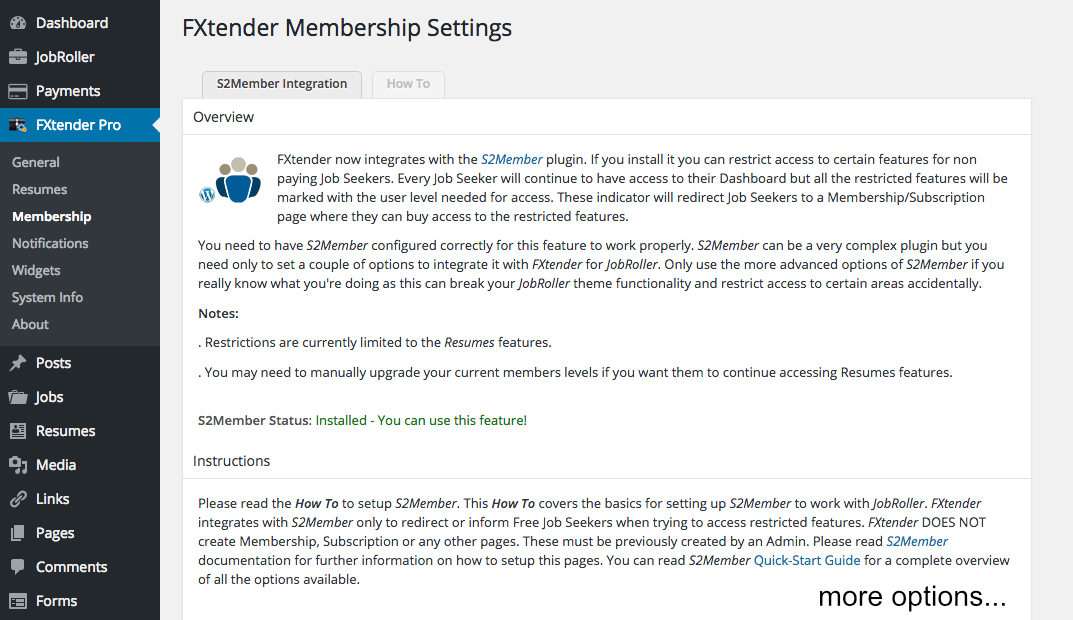 Membership settings page. Integration with S2Members provides option for charging Job…