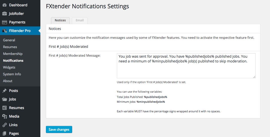 Notifications settings page