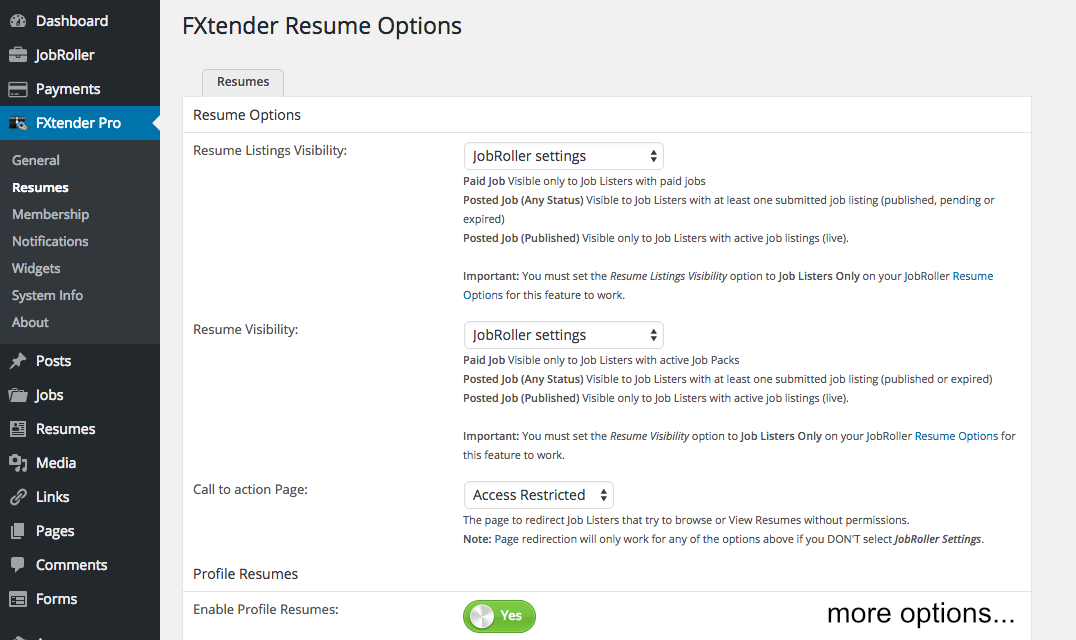 Resumes settings page