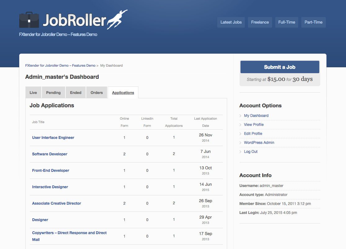 Fxtender pro jobroller plugin new tab for monitoring job applications falaconquin