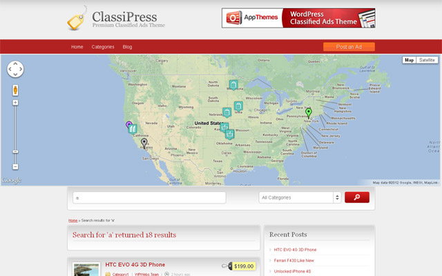 MapPress Search Page Map
