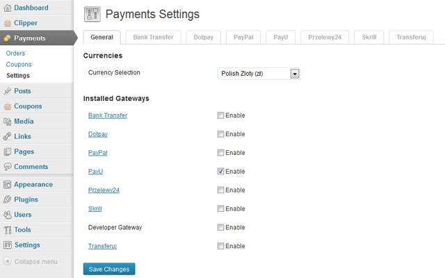 Payments settings
