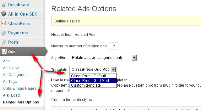 Classipress Related  Ads  WordPress  admin