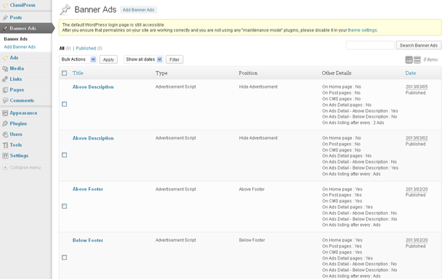 Admin Advertisement Listing