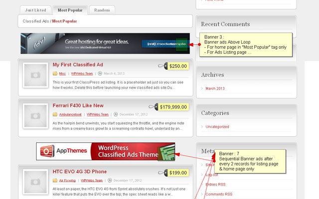 Home Page Most Popular & Above Listing Advertisement