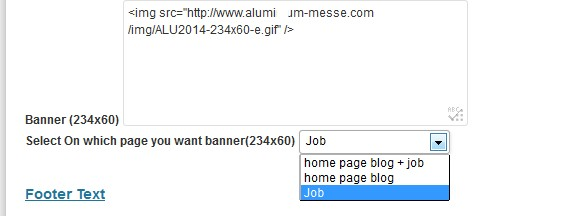 Add a banner in the job page, blog or front page or all three
