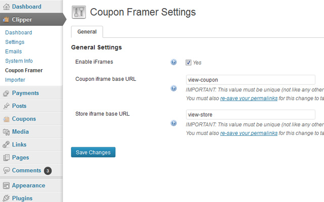 Coupon Framer Settings Page