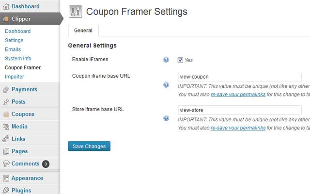 Coupon Framer Settings Page
