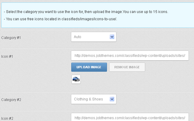 Upload and set the icons for the ads categories through the admin