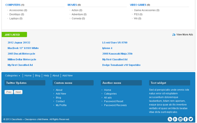 A just listed section, can be enabled/disabled through the admin