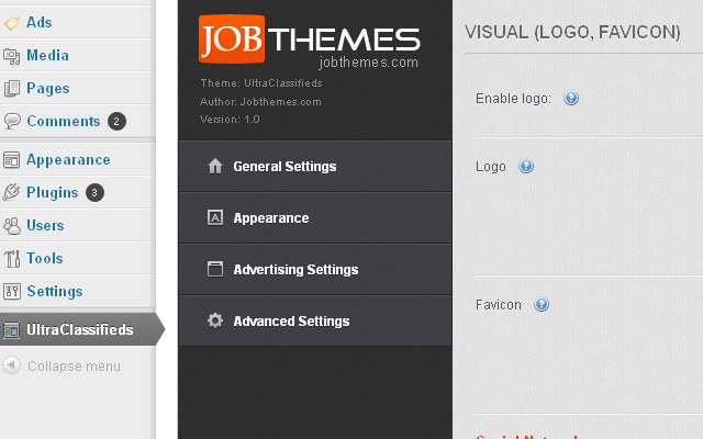 Advanced theme options full of options