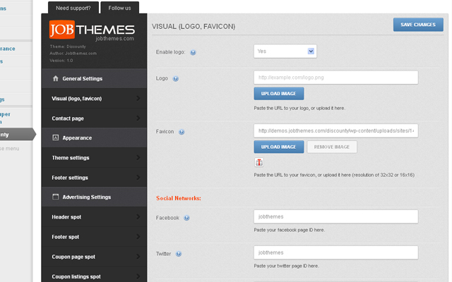 Advanced theme settings panel