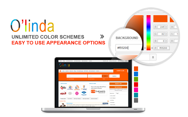 6 Color schemes  and unlimited color combinations