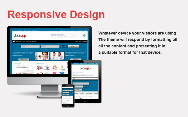 Jobsapp is fully responsive and compatible with all types of devices.
