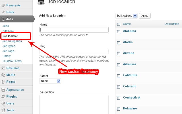 New custom taxonomy to create a list of locations(cities or states)