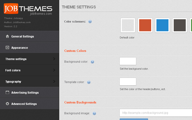 6 Pre-defined color schemes and unlimited custom colors