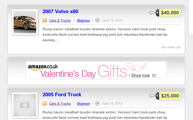 Advert containers feature the same markup and appearance as the theme in use!