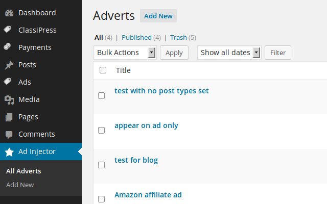Adverts are stored as a custom post type meaning the WordPress import/export tool can be…