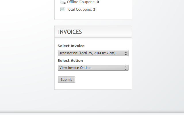 Invoices list on the Clipper user dashboard.
