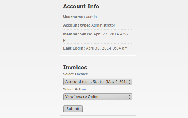 Invoices list on the JobRoller user dashboard.