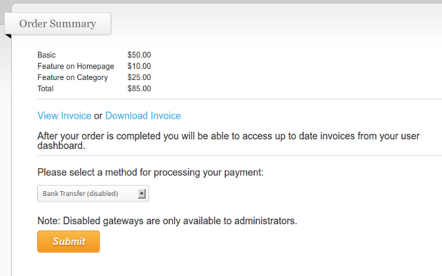 Invoices can be accessed during the order process.