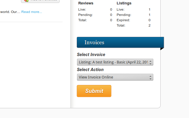 Invoices list on the Vantage user dashboard.