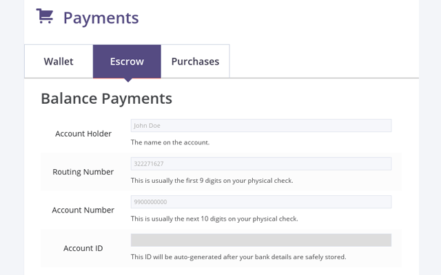 Setting up escrow payments in HireBee as a user.