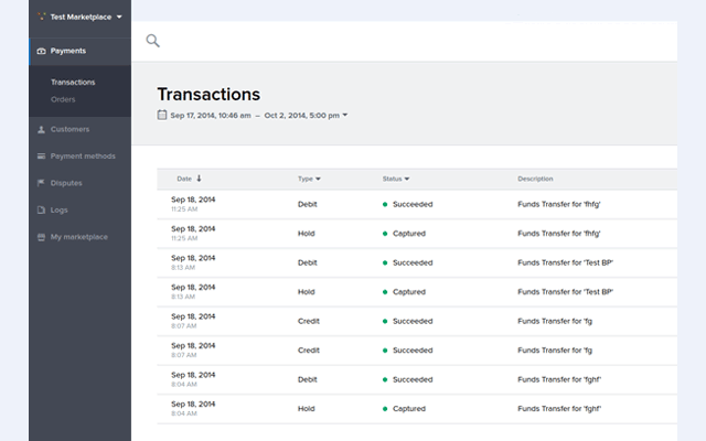 See all your transactions within your Balanced Payments account.