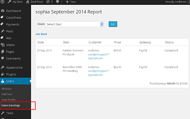 User Monthly Earnings Report  in wp-admin