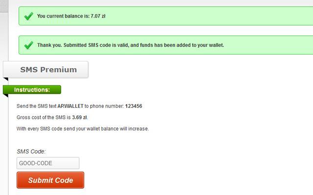 Premium SMS form