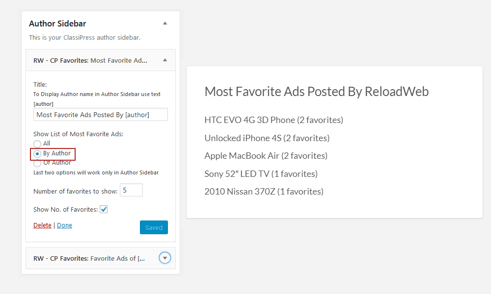Most Favorite Ads Posted By Author Widget