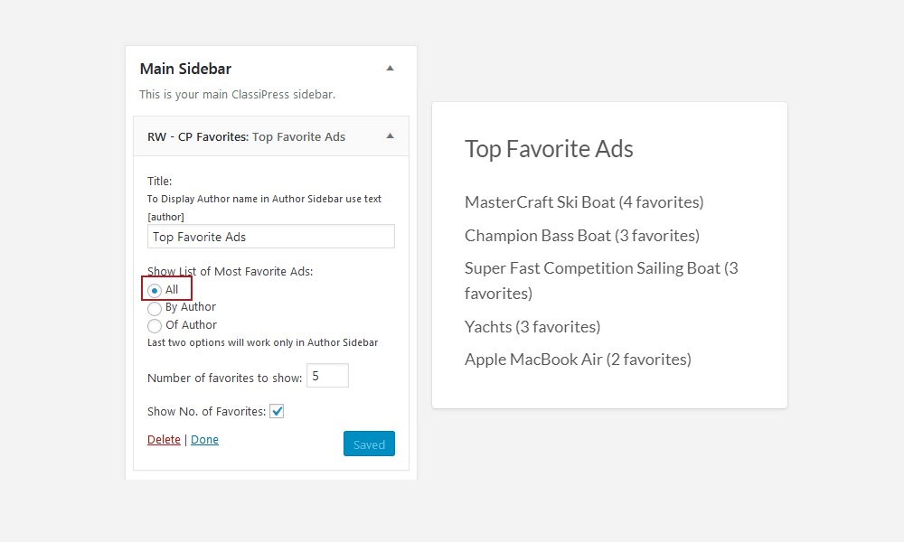 Top Favorite Ads Widget