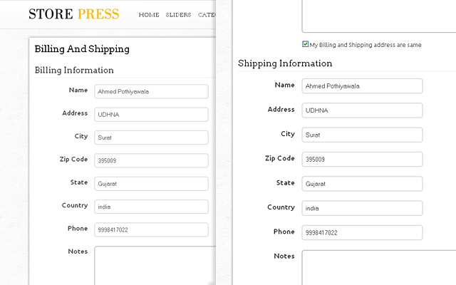 Shipping & Billing Detail Page