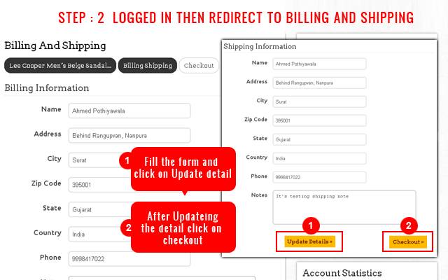 Step 2 : Shipping & Billing