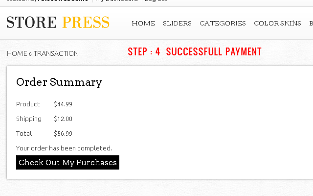 Step 4 : Order Summary after Successful Payment