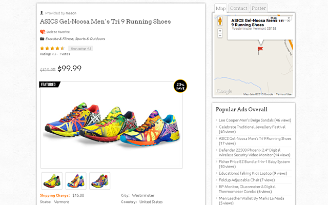 Product/Ads Detail Page With Right Sidebar