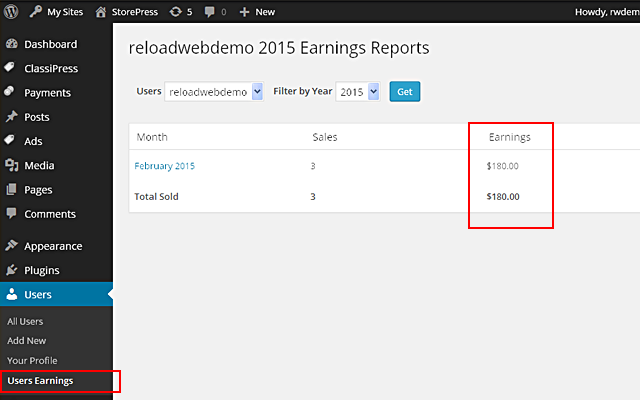 User Yearly Earnings Report in wp-admin