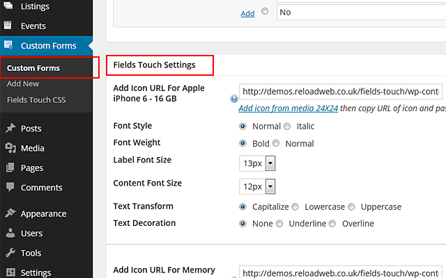 Fields Touch Settings  wp-admin -> Custom Forms