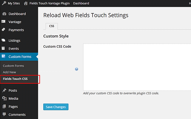 Fields Touch Custom CSS code
