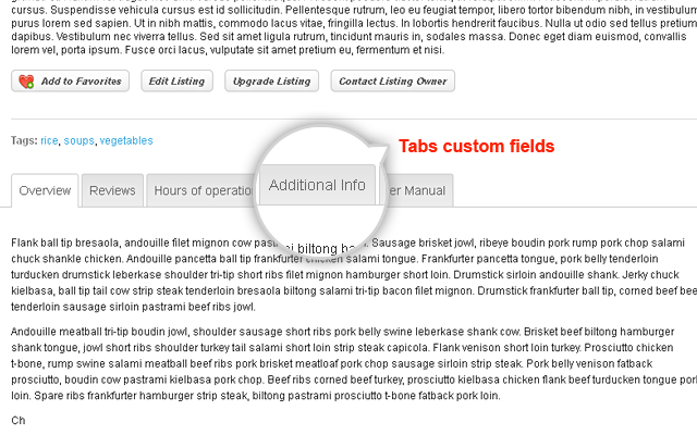 Listing & Event Detail Page Tabs Custom Fields