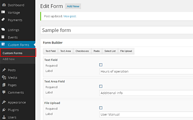 Wp-admin -> Custom Forms