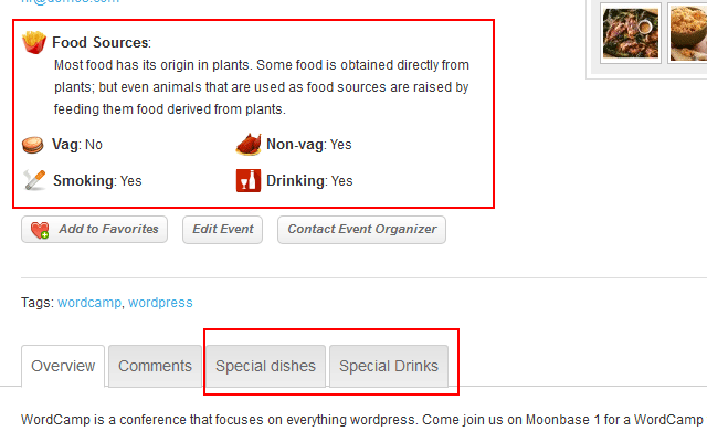 Tabber and Fields Touch Plugin Combination on listing or event detail page