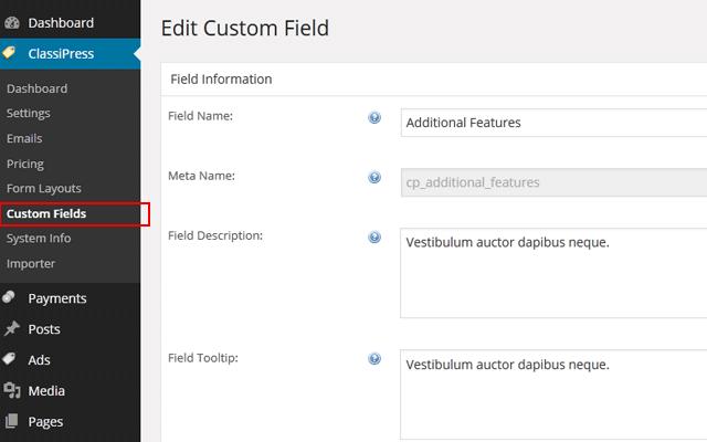 wp-admin -> ClassiPress -> Custom Fields