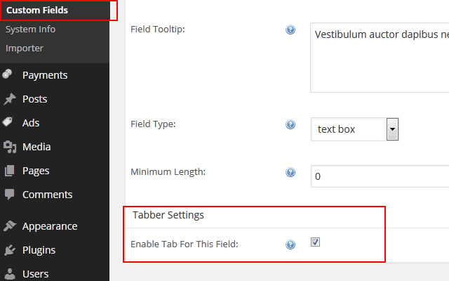 wp-admin -> ClassiPress -> Custom Fields  At Bottom Tabber Settings)