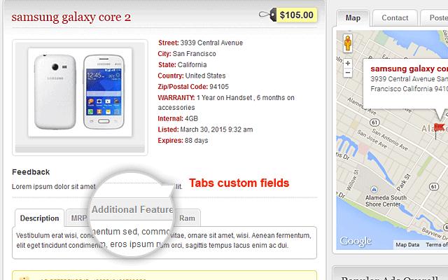 Ads Detail Page Tabs Custom Fields