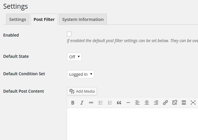 The post filter allows you to control all post content on your site.