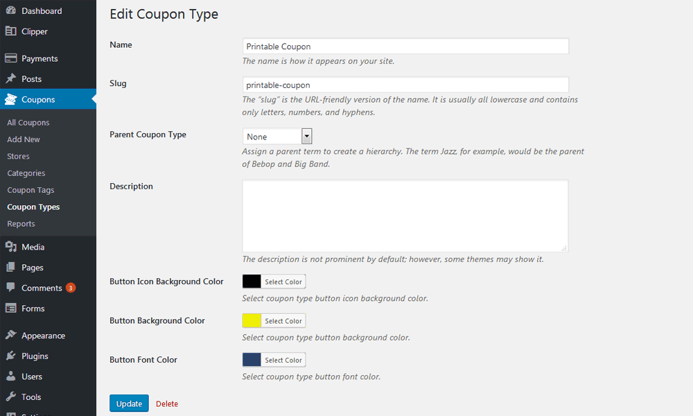 Coupon Types Option