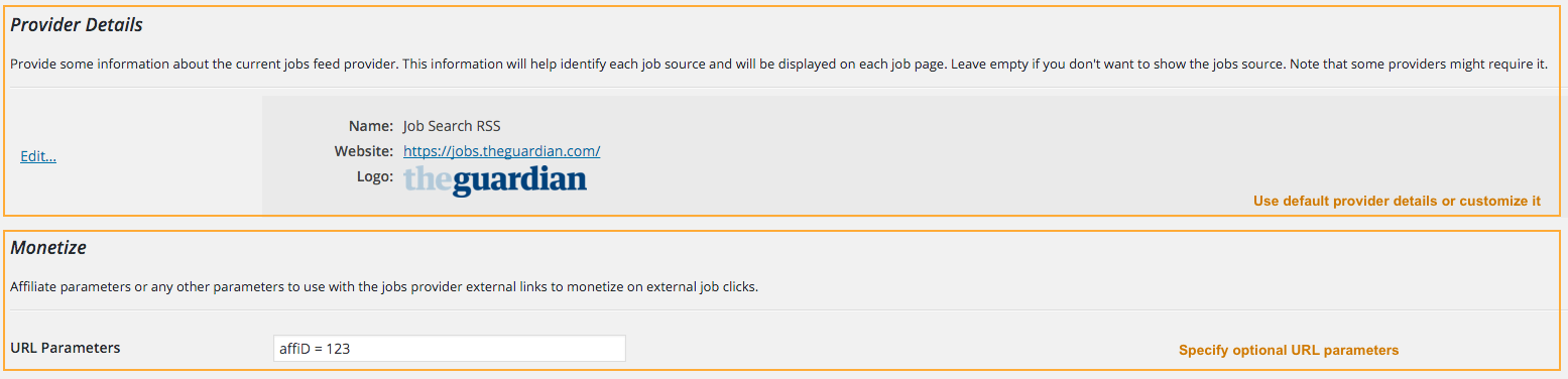Set Job Providers Information / Optional URL Parameters