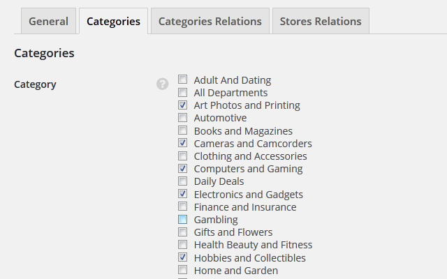 Filtering by Category Settings